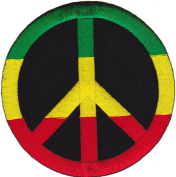 Iron on Patch Sew on Embroidered Application Colourful Peace Sign Reggae Rasta