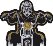 Iron on Patch Sew on Embroidered Application Ghost Rider Hell Rider Skeleton Biker MC