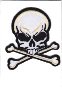 Iron on Patch Sew on Embroidered Application Cool Skull and Crossbones Pirat Biker MC