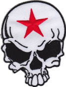 Iron on Patch Sew on Embroidered Application Cool Skull with Red Star Biker MC