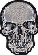 Iron on Patch Sew on Embroidered Application Cool Silver Skull Hard Core Biker MC