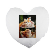 Cat, Face, Goldfish, Glass, Close, View Heart Shaped Pillow Cover
