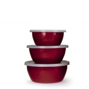 Golden Rabbit Red on Red Nesting Storage Bowls