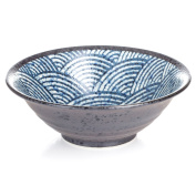 Japanese Ceramic Ramen Noodle Soup Bowl with Traditional Seikaiha Wave Pattern
