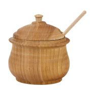 0.5 Litre Sugar Bowl Lid Wood Cherry and Spoon Sugar Container