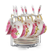 Touch Life Set of 6 Bone China Tea Cup Coffee Cup Set with Saucer,Pink Rose ,White and Pink,with bracket