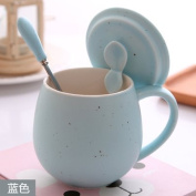 Furniture daily necessities WWYXHQC Bone China mug creative Ceramic cups cup with lid of couples water cup milk breakfast coffee cup lovely personality ,9571 Blue