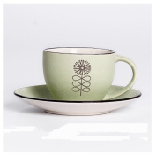 Ceramic coffee cup with saucer set simple Chinese pastoral style afternoon tea,green
