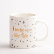 Creative European coffee cup with cover and spoon ceramic mug / office drinking cup,Polka dot B
