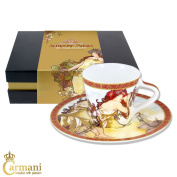 CARMANI - Small cup with saucer decorated with 'Summer' by Alphonse Mucha paintings 225ml