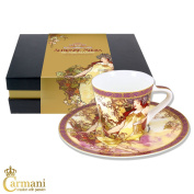 CARMANI - Small cup with saucer decorated with 'Autumn' by Alphonse Mucha paintings 250ml