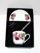 Rose pink roses cup and saucer set, bone china gift boxed set wtih teaspoon