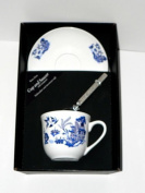 Blue willow pattern cup and saucer set, bone china gift boxed set wtih teaspoon