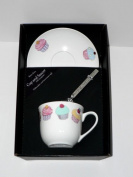Cupcake cup and saucer set, bone china gift boxed set wtih teaspoon