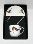 Garden Birds cup and saucer set, bone china gift boxed set wtih teaspoon