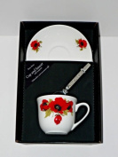 Poppy cup and saucer set, bone china gift boxed set wtih teaspoon