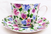 Sweet Pea Breakfast Cup & Saucer Fine Bone China Large Floral Sweet Pea Cup & Saucer Set Hand Decorated in the U.K.