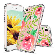 iPhone 8 Case, iPhone 7 Case, MOSNOVO Girls Red Roses Floral Flower Printed Clear Design Transparent Plastic Hard Back Case with TPU Bumper Protective Case Cover for iPhone 7 (2016) / iPhone 8