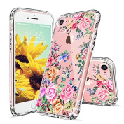 iPhone 8 Case, iPhone 7 Case for Girls, MOSNOVO Roses Garden Floral Printed Flower Pattern Clear Design Plastic Hard Case with TPU Bumper Protective Case Cover for iPhone 7 (2016) / iPhone 8