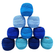 Blue 10 Pcs Cotton Mercerized Crochet Yarn Thread Skeins Tatting Knitting Craft