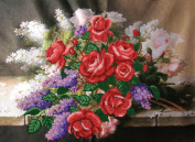 Roses and Lilacs Counted Bead Embroidery Kit 44x32 cm