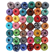 42 Pack Crochet Cotton Yarn Thread by Kurtzy- Stripy Design in An Assortment of Colours - Threads for Patterns, Projects and Applique - 5 Grammes - 47.5 Yards of Thread - High Quality Material