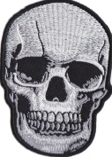 Iron on Patch Sew on Embroidered Application Cool Silver Skull Biker MC Big Size
