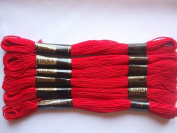 Pack of 6 Trebla Embroidery Thread / Skeins - 8m - Christmas Red - Col. 120