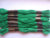 Pack of 6 Trebla Embroidery Thread / Skeins - 8m - Emerald Green - Col. 321