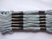 Pack of 6 Trebla Embroidery Thread / Skeins - 8m - Silver - Col. 969