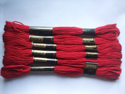 Pack of 6 Trebla Embroidery Thread / Skeins - 8m - Post Box Red - Col. 709