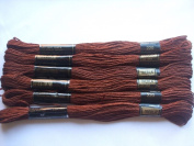 Pack of 6 Trebla Embroidery Thread / Skeins - 8m - Dark Brown - Col. 220
