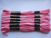 Pack of 6 Trebla Variegated Embroidery Thread / Skeins - 8m - Light Pinks - Col. 32