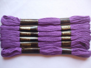 Pack of 6 Trebla Embroidery Thread / Skeins - 8m - Purple - Col. 113