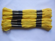 Pack of 6 Trebla Embroidery Thread / Skeins - 8m - School Bus Yellow - Col. 515
