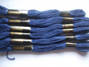 Pack of 6 Trebla Embroidery Thread / Skeins - 8m - Dark Blue - Col. 308