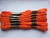 Pack of 6 Trebla Embroidery Thread / Skeins - 8m - Orange - Col. 109