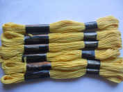 Pack of 6 Trebla Embroidery Thread / Skeins - 8m - Golden Yellow - Col. 516