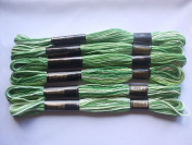 Pack of 6 Trebla Variegated Embroidery Thread / Skeins - 8m - Grass - Col. 33