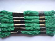 Pack of 6 Trebla Embroidery Thread / Skeins - 8m - Hunter Green - Col. 212