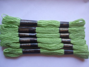 Pack of 6 Trebla Embroidery Thread / Skeins - 8m - Apple Green - Col. 207
