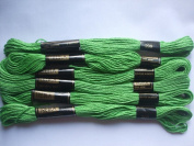 Pack of 6 Trebla Embroidery Thread / Skeins - 8m - Kelly Green - Col. 209