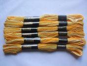 Pack of 6 Trebla Variegated Embroidery Thread / Skeins - 8m - Yellows - Col. 34
