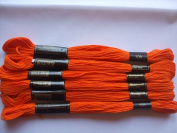 Pack of 6 Trebla Embroidery Thread / Skeins - 8m - Dark Orange - Col. 108