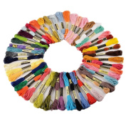 niceEshop(TM) 8M Cotton Embroidery Thread 50 Assorted Colour Skeins Sewing Thread Yarn