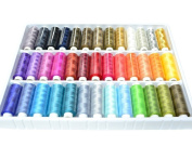 39 Spools Coils Of 250 Metres Colourful rainbow Colours 100% Polyester, All purpose domestic sewing, quilting, knitting, machine threads with golden and [Model