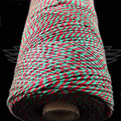 1 Metre, RED/EMERALD GREEN BEAUTIFUL BAKERS TWINE 100% COTTON 2mm 2 PLY MADE IN THE UK - STRING CORD CRAFT PAPER - FREE UK DELIVERY