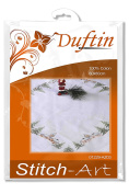Duftin Sarah 01229-AZ03 Embroidery Tablecloth / Cotton / Motif White Christmas / 80 x 80 cm