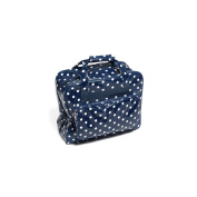 HobbyGift MR4660/32 White Polka Dot Print/Navy PVC Sewing Machine Bag 20x43x37cm