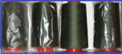 Khaki 101 Overlocking Sewing Machine Polyester Thread Four 5000 Yards Cones